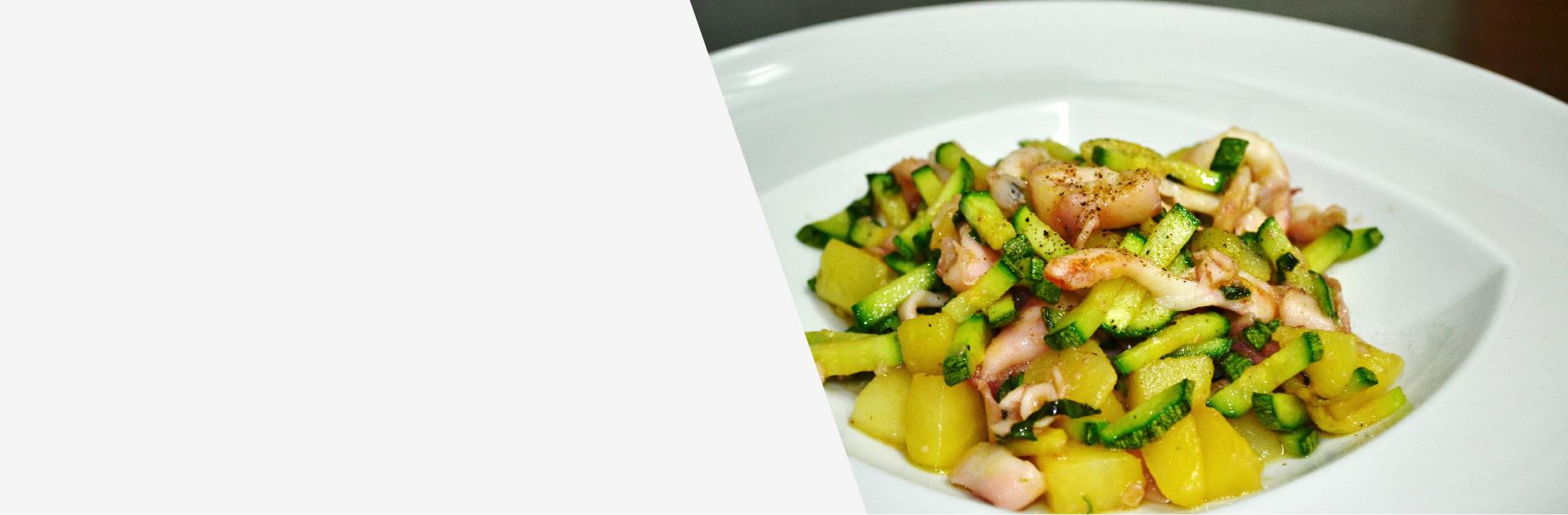 calamari, patate e zucchine